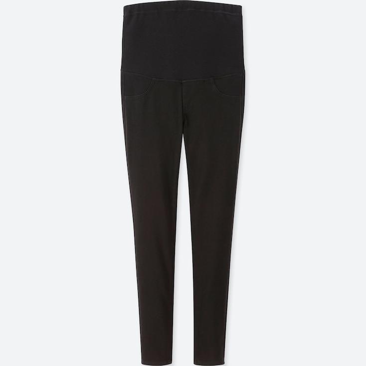 WOMEN MATERNITY LEGGINGS PANTS, BLACK, large