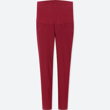 WOMEN MATERNITY LEGGINGS PANTS, RED, medium