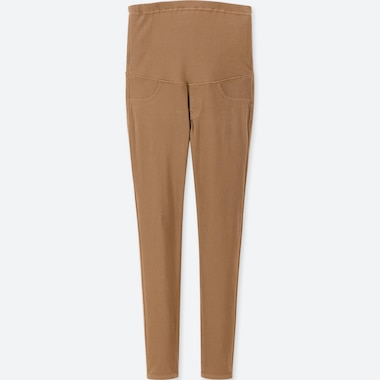 WOMEN MATERNITY LEGGINGS PANTS, BROWN, medium