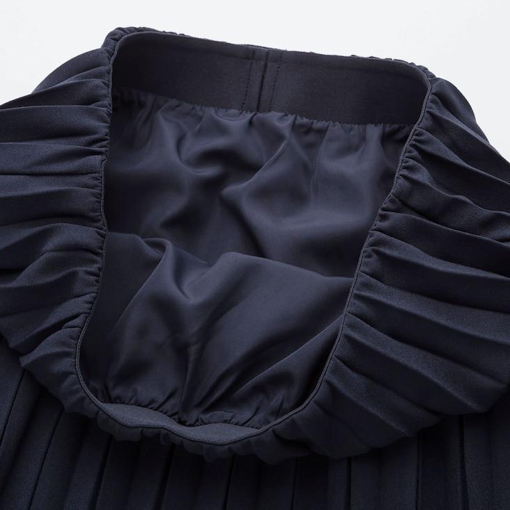 Women High-Waist Crepe Pleated Skirt, Navy, Large