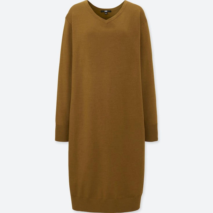 Women Merino-Blend V-Neck Long-Sleeve Dress, Brown, Large