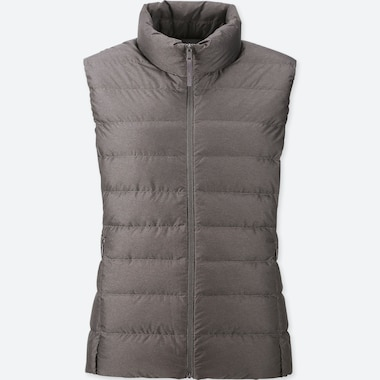 WOMEN ULTRA LIGHT DOWN VEST, GRAY, medium