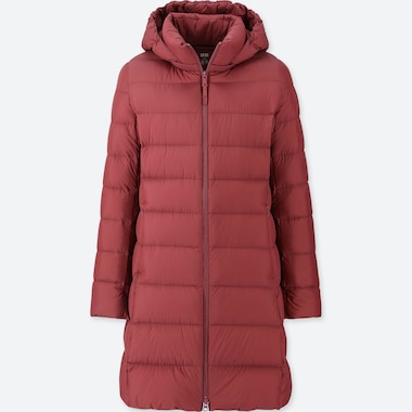 Women Ultra Light Down Hooded Coat, Red, Medium