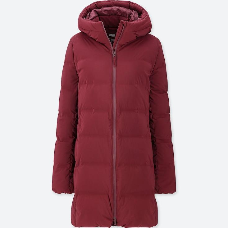 WOMEN SEAMLESS DOWN SHORT COAT, RED, large