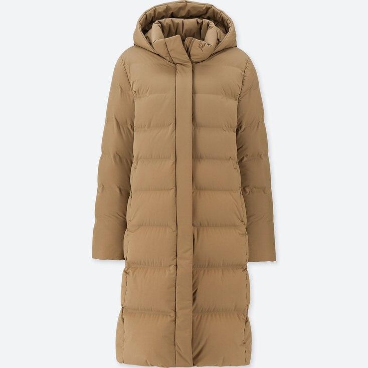 WOMEN SEAMLESS DOWN LONG COAT, BROWN, large