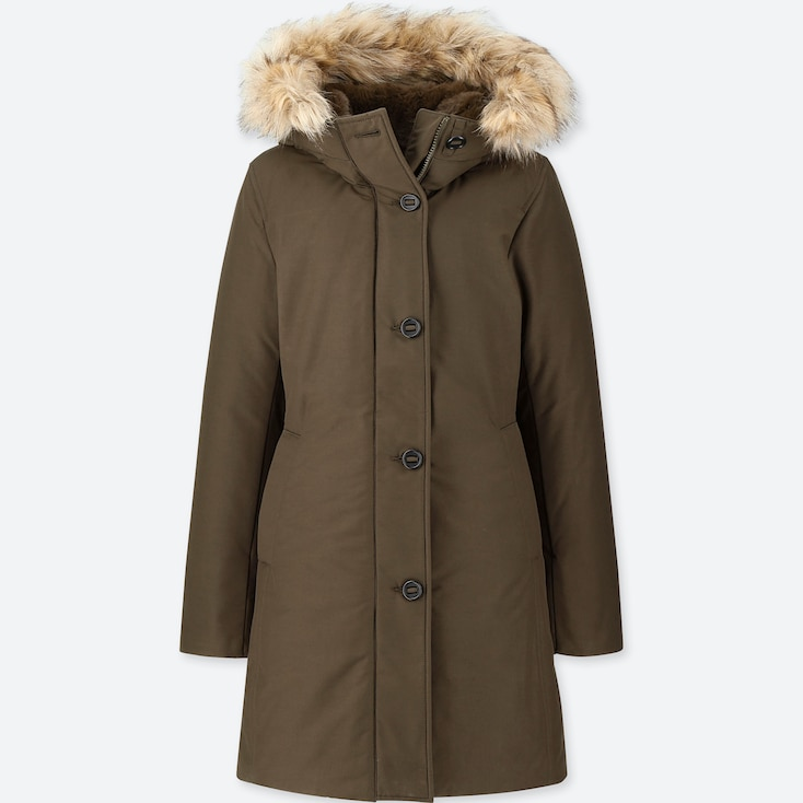 WOMEN ULTRA WARM DOWN SHORT COAT, OLIVE, large