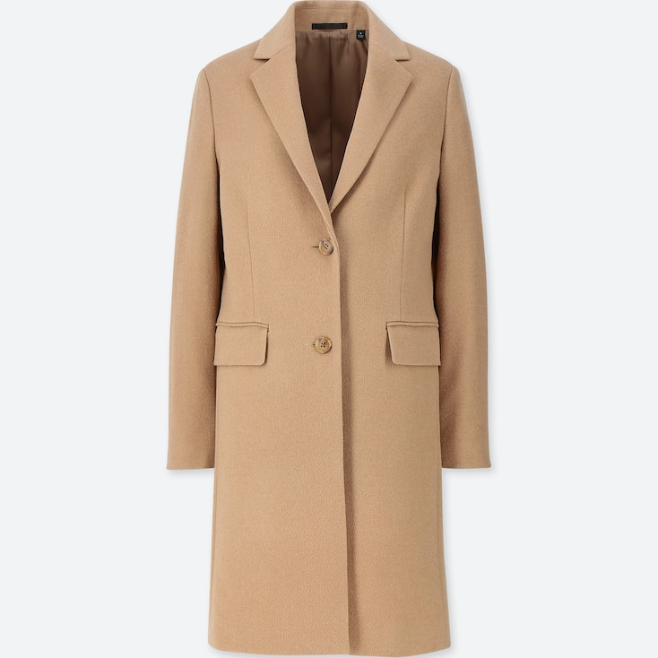 Women Cashmere Blended Chester Coat, Beige, Large