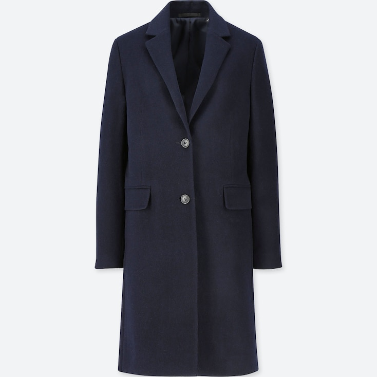 WOMEN CASHMERE BLENDED CHESTER COAT, NAVY, large