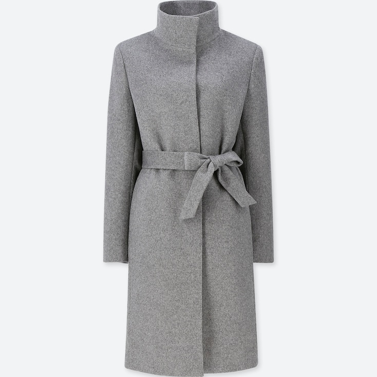 WOMEN CASHMERE BLENDED STAND COLLAR COAT, GRAY, large