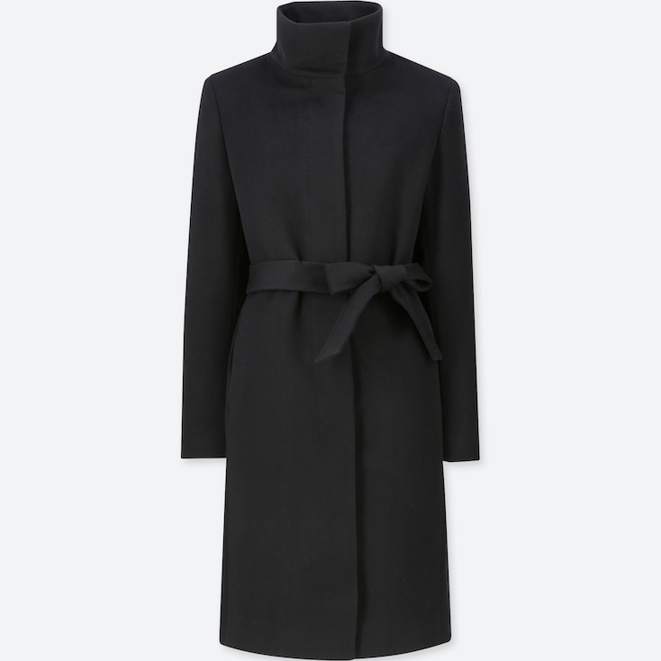 WOMEN CASHMERE BLENDED STAND COLLAR COAT, BLACK, large
