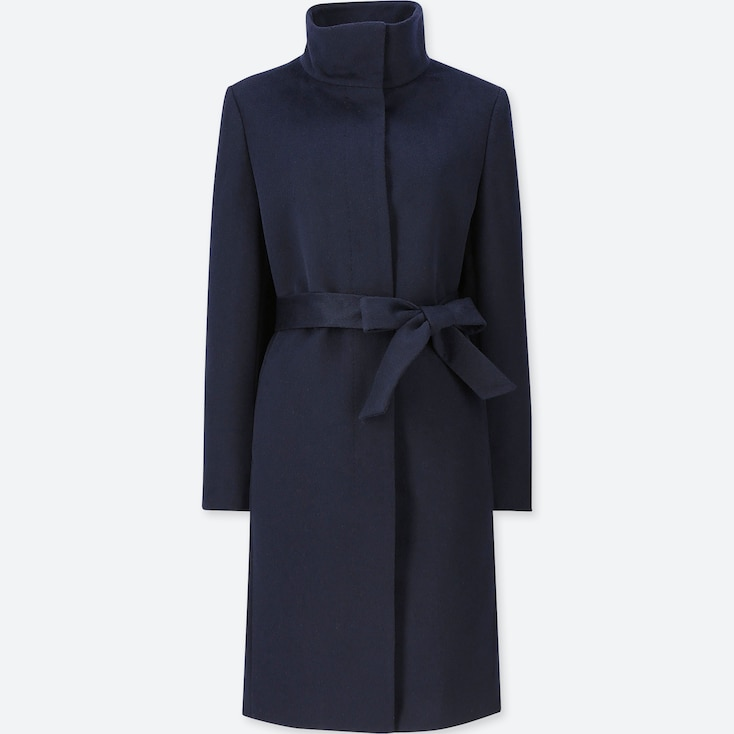 WOMEN CASHMERE BLENDED STAND COLLAR COAT, NAVY, large
