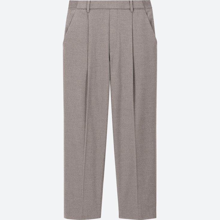 WOMEN EZY TUCKED ANKLE-LENGTH PANTS, GRAY, large