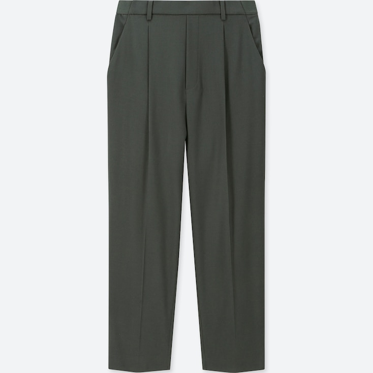 WOMEN EZY TUCKED ANKLE-LENGTH PANTS, GREEN, large