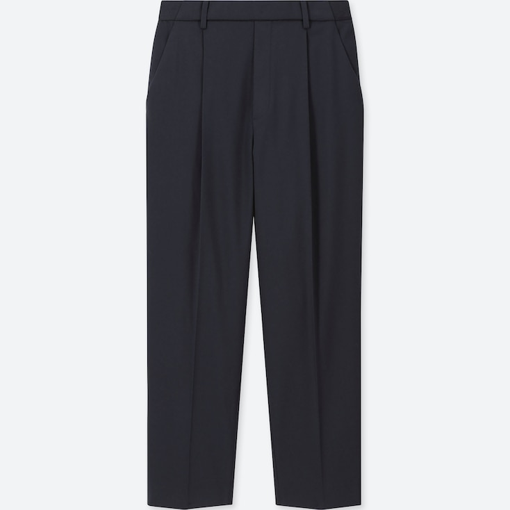Women Ezy Tucked Ankle-Length Pants, Navy, Large