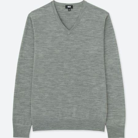 Men 100% Extra Fine Merino Wool V Neck Long Sleeved Jumper