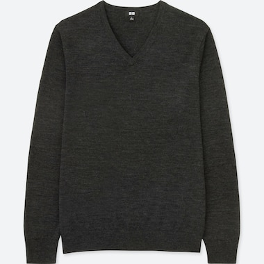 Men 100% Extra Fine Merino Wool V Neck Long Sleeved Jumper
