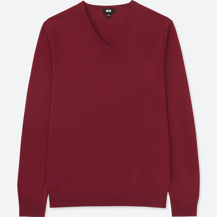 MEN EXTRA FINE MERINO V-NECK LONG-SLEEVE SWEATER, RED, large