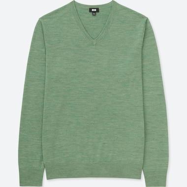 MEN EXTRA FINE MERINO V-NECK LONG-SLEEVE SWEATER, GREEN, medium
