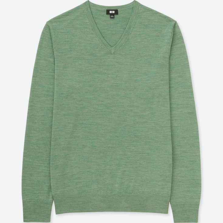 MEN EXTRA FINE MERINO V-NECK LONG-SLEEVE SWEATER, GREEN, large