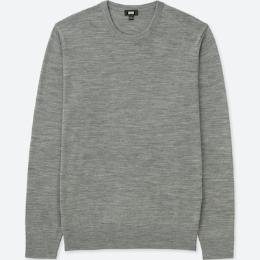 MEN EXTRA FINE MERINO CREW NECK LONG SLEEVED JUMPER