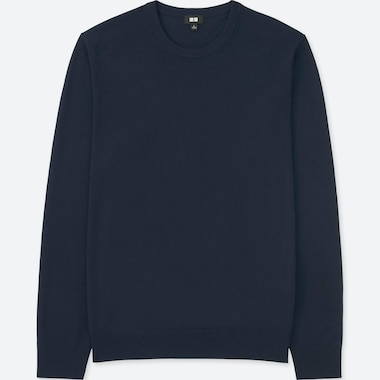 MEN EXTRA FINE MERINO CREW NECK LONG-SLEEVE SWEATER, NAVY, medium