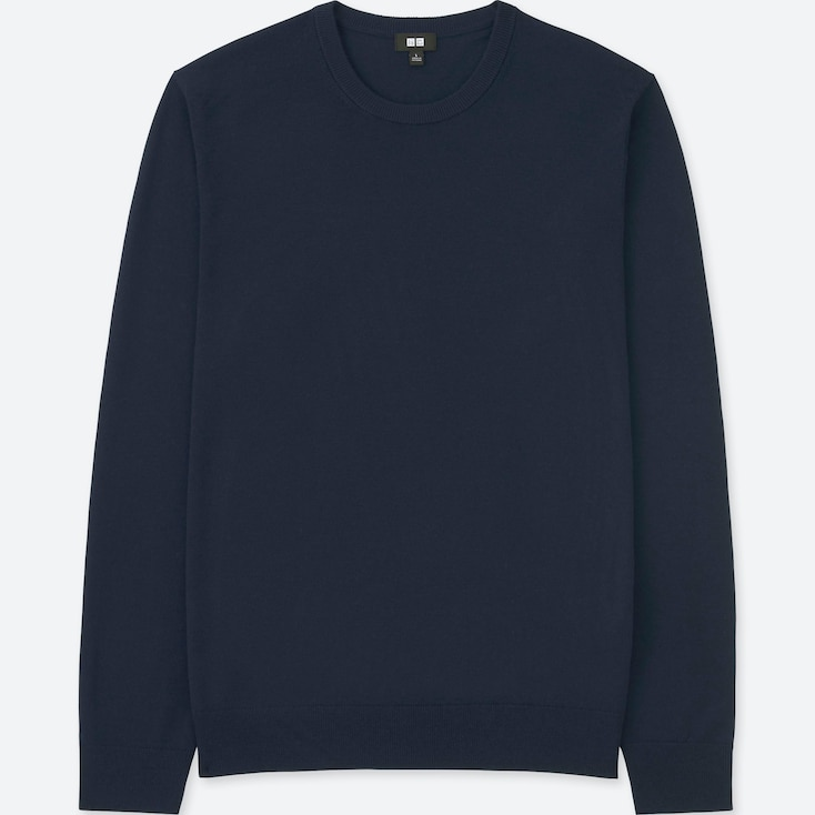 MEN EXTRA FINE MERINO CREW NECK LONG-SLEEVE SWEATER, NAVY, large