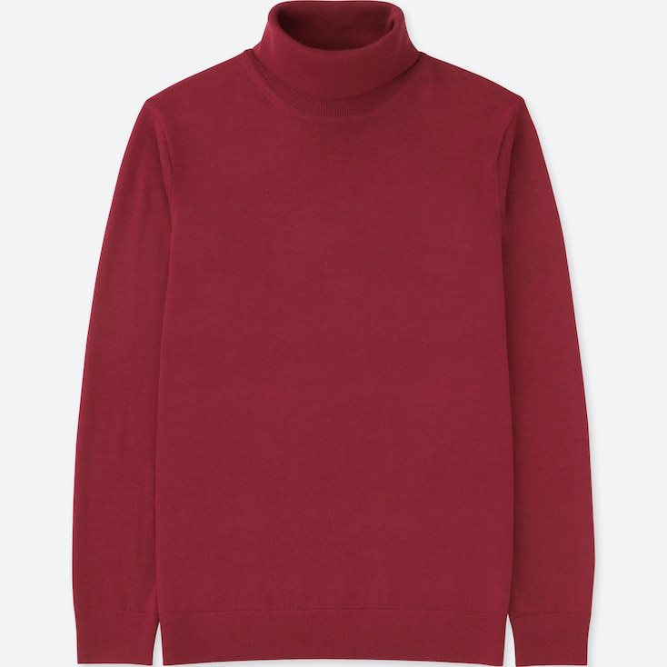 MEN EXTRA FINE MERINO TURTLENECK LONG-SLEEVE SWEATER, RED, large