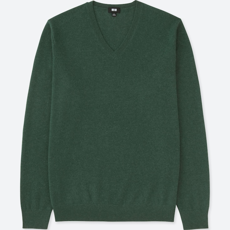 MEN CASHMERE V-NECK LONG-SLEEVE SWEATER, GREEN, large