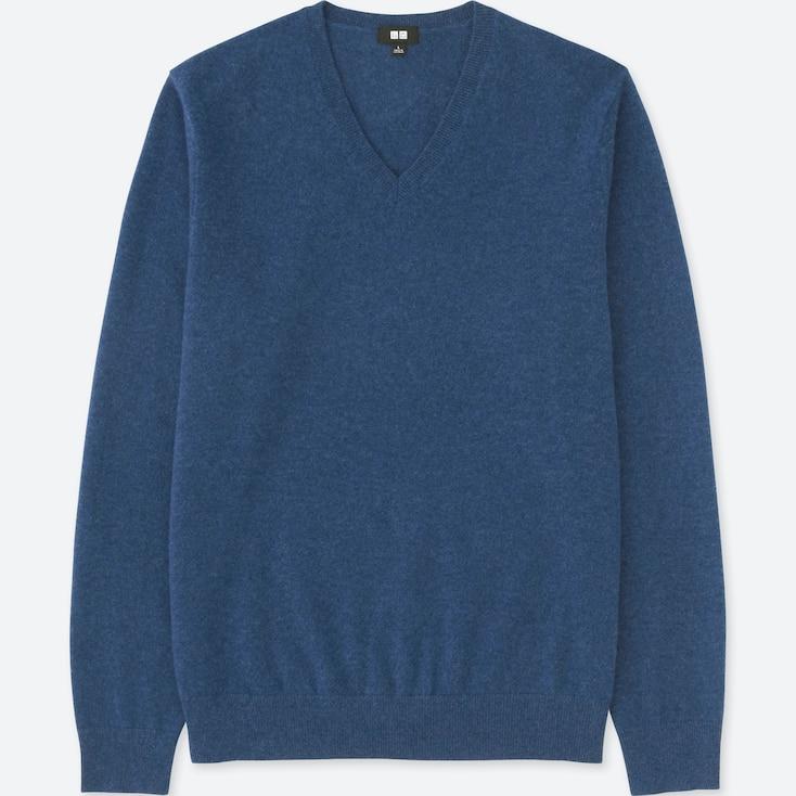 MEN CASHMERE V-NECK LONG-SLEEVE SWEATER, BLUE, large
