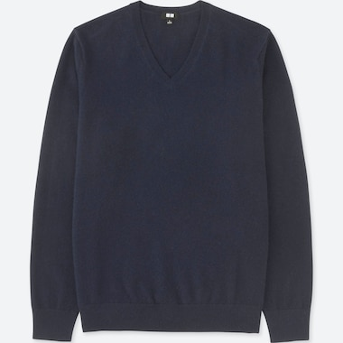 MEN CASHMERE V-NECK LONG-SLEEVE SWEATER, NAVY, medium