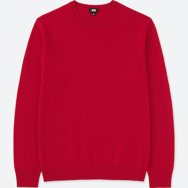 MEN CASHMERE CREW NECK LONG-SLEEVE SWEATER, RED, medium