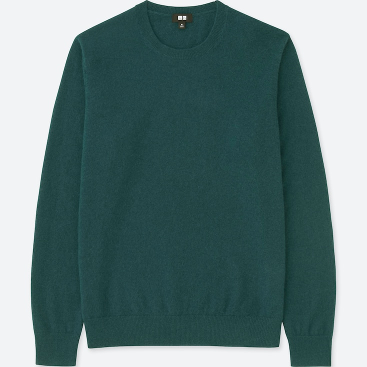 MEN CASHMERE CREW NECK LONG-SLEEVE SWEATER, GREEN, large