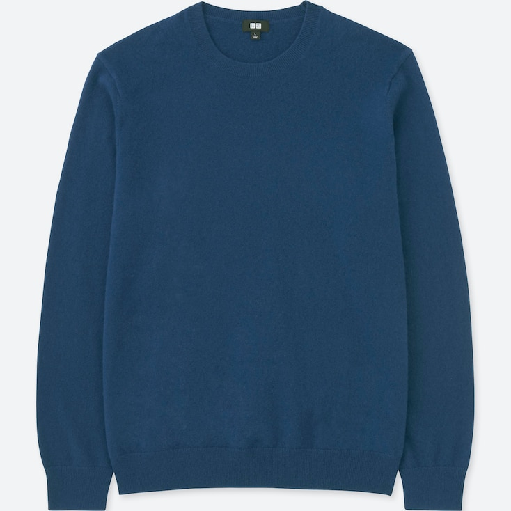 MEN CASHMERE CREW NECK LONG-SLEEVE SWEATER, BLUE, large
