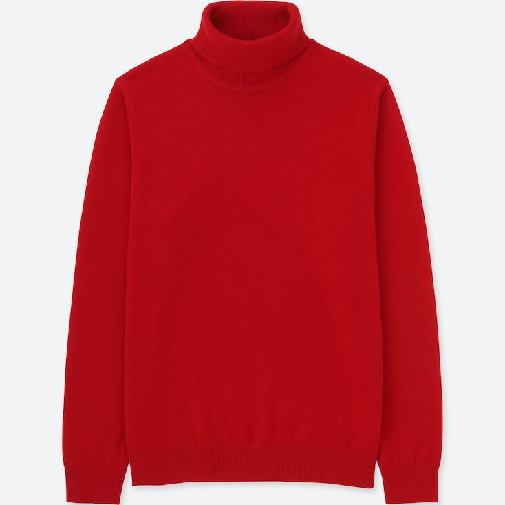 MEN CASHMERE TURTLENECK LONG-SLEEVE SWEATER, RED, large