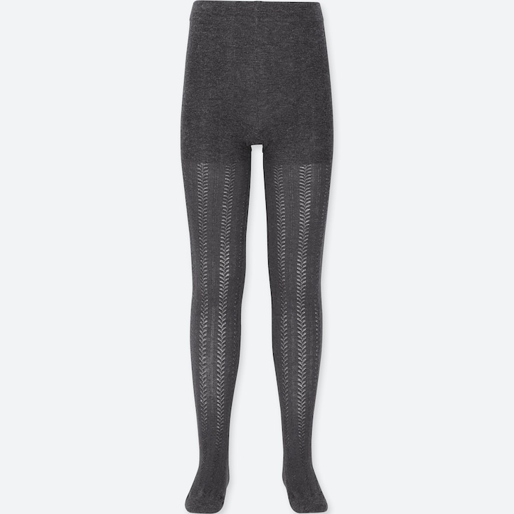 GIRLS KNITTED TIGHTS, DARK GRAY, large
