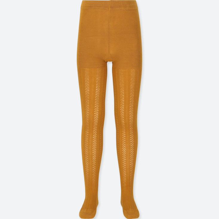 GIRLS KNITTED TIGHTS, YELLOW, large
