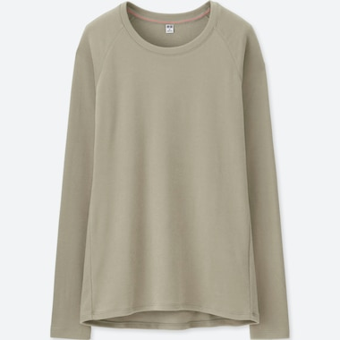 WOMEN HEATTECH STRETCH FLEECE CREW NECK LONG-SLEEVE T-SHIRT, BEIGE, medium