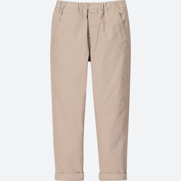 BOYS ULTRA STRETCH RELAXED TAPERED ANKLE PANTS, BEIGE, large