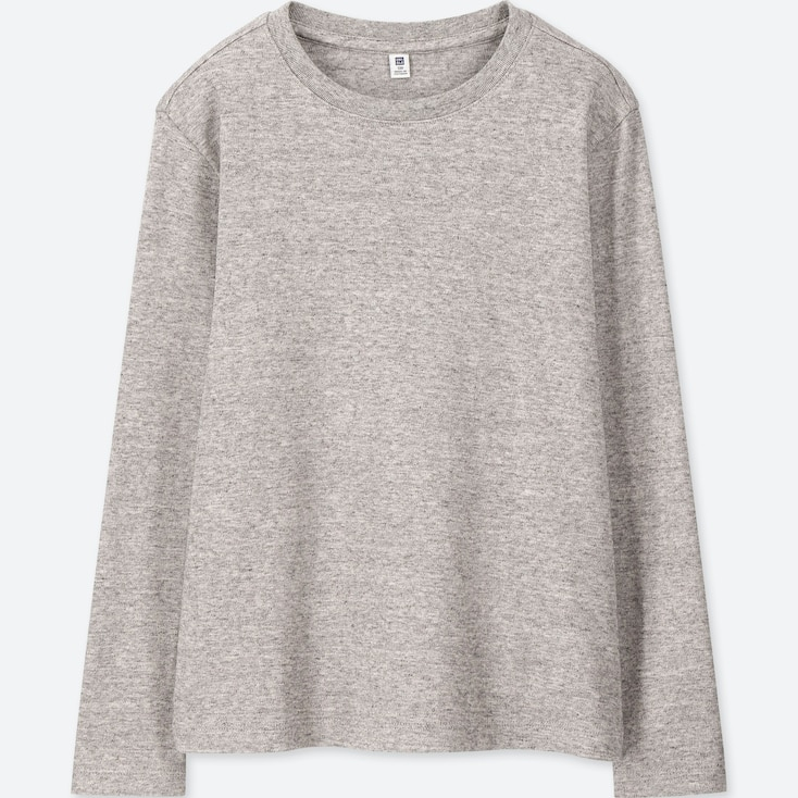 KIDS SOFT TOUCH CREW NECK LONG-SLEEVE T-SHIRT, GRAY, large