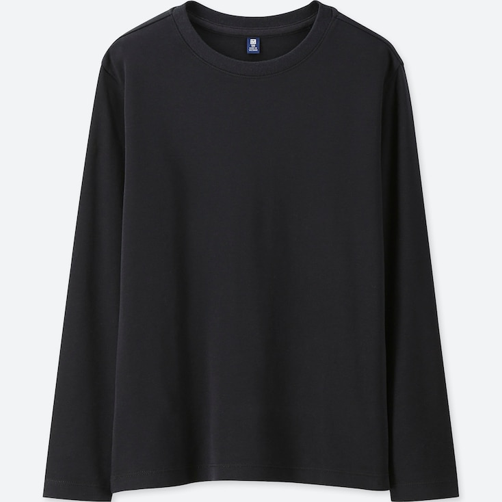 KIDS SOFT TOUCH CREW NECK LONG-SLEEVE T-SHIRT, BLACK, large
