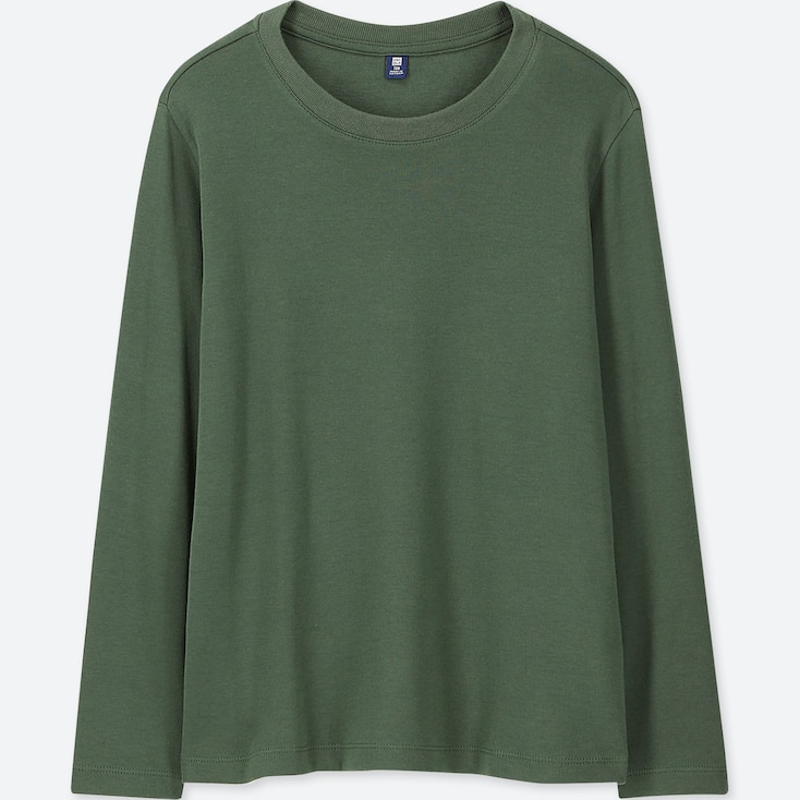 KIDS SOFT TOUCH CREW NECK LONG-SLEEVE T-SHIRT, GREEN, large