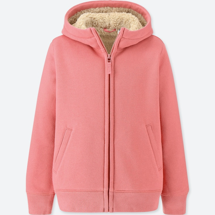 KIDS PILE-LINED SWEAT LONG-SLEEVE FULL-ZIP HOODIE, PINK, large