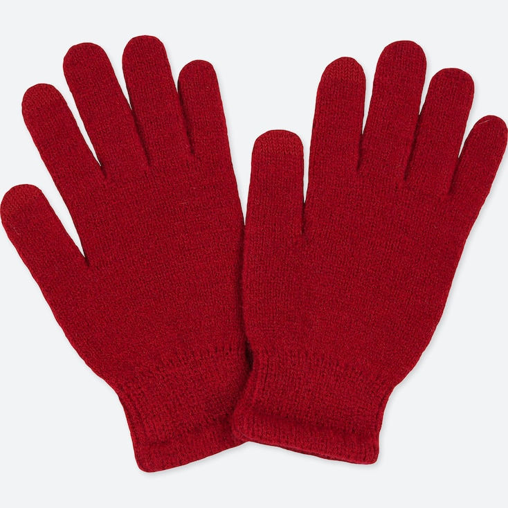 KIDS HEATTECH KNITTED GLOVES, RED, large