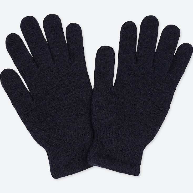 KIDS HEATTECH KNITTED GLOVES, NAVY, large