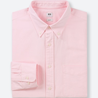 MEN OXFORD SLIM-FIT LONG-SLEEVE SHIRT, PINK, medium