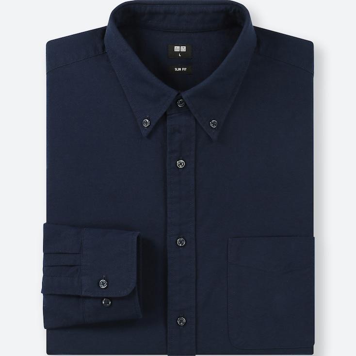 MEN OXFORD SLIM-FIT LONG-SLEEVE SHIRT, BLUE, large