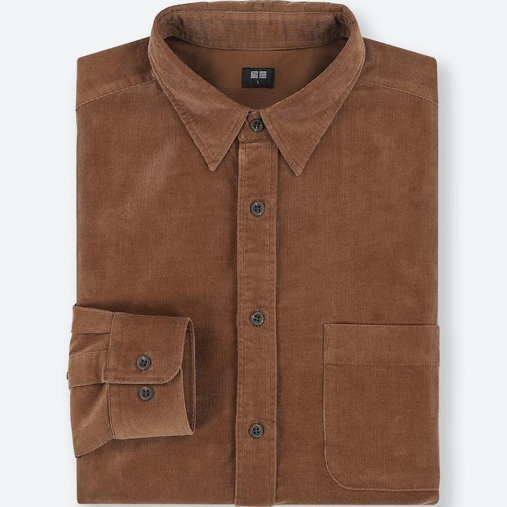 Men Corduroy Long-Sleeve Shirt, Brown, Large