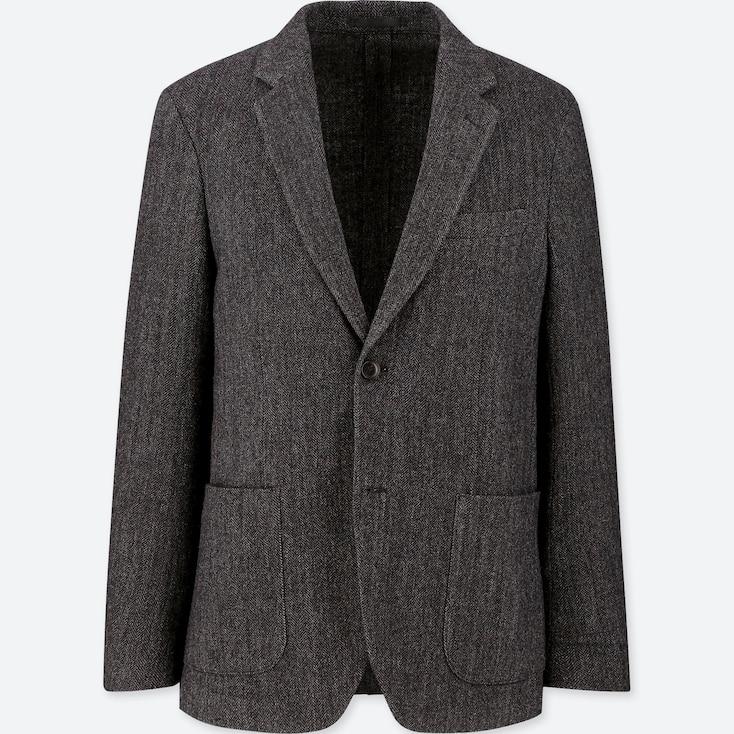Men Tweed Jacket, Dark Gray, Large