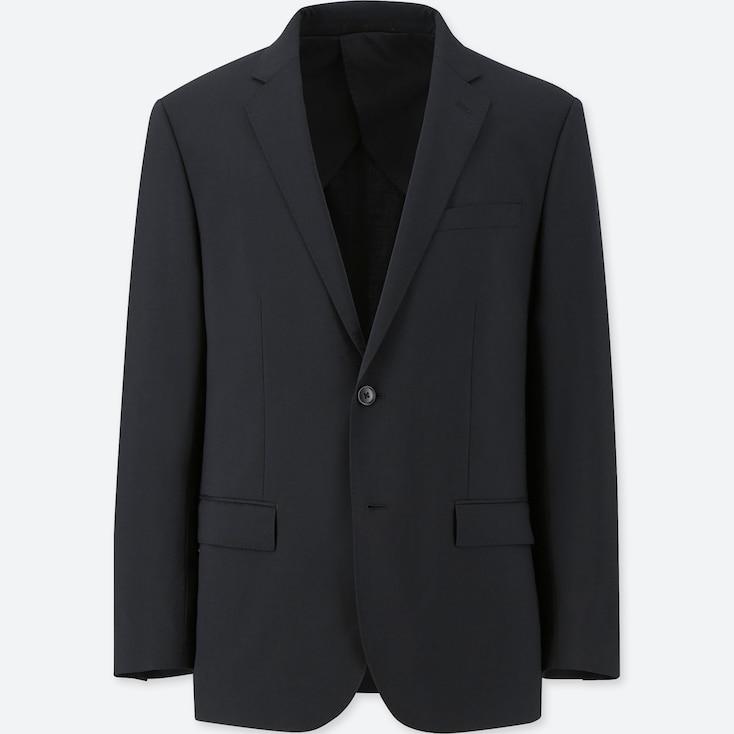 Men Stretch Wool Slim-Fit Jacket, Black, Large