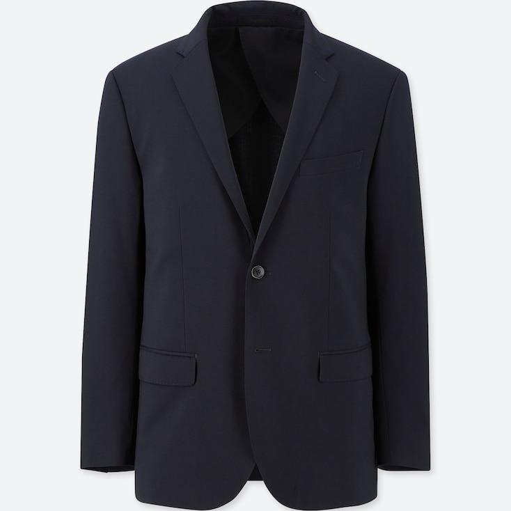 Men Stretch Wool Slim-Fit Jacket, Navy, Large